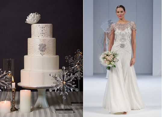 Snowflake winter wedding cake by Intricate Icings and Jenny Packham wedding gown (left) on which the cake design is based