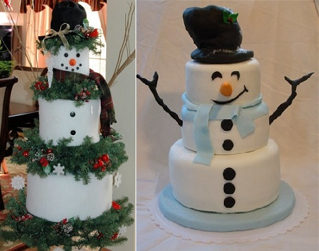 Snowman cakes by Gateau Maison (right) and from Pinterest (left)
