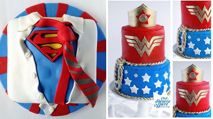 Superhero cakes by TortasLate on CakeCentral (left) and Wonder Woman cake by Chef d'oeuvre Sucre (right)