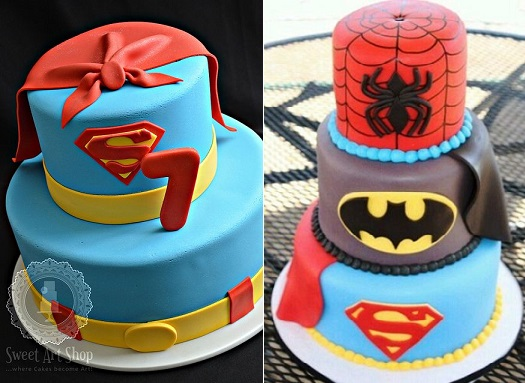 Superhero cakes from the Sweet Art Shop (left) and via Pinterest (right)
