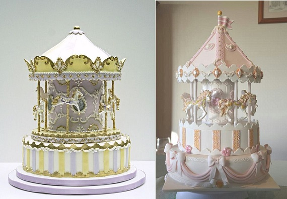 carousel cakes from Bobette & Belle (left) and Shaz1147 on Cake Central (right)