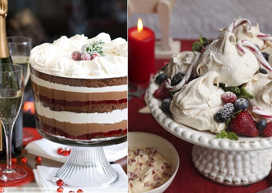 chocolate cranberry and cream cheese mousse trifle from Baking Obsession. com (left) and christmas berry meringues from Pinterest (right)