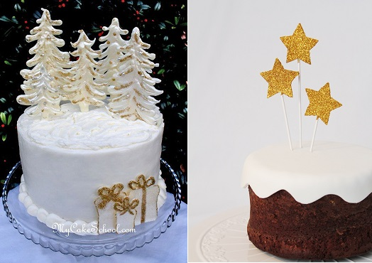 christmas cake decorating ideas by My Cake School. com.au (left) and Nice Party, Espana (right)