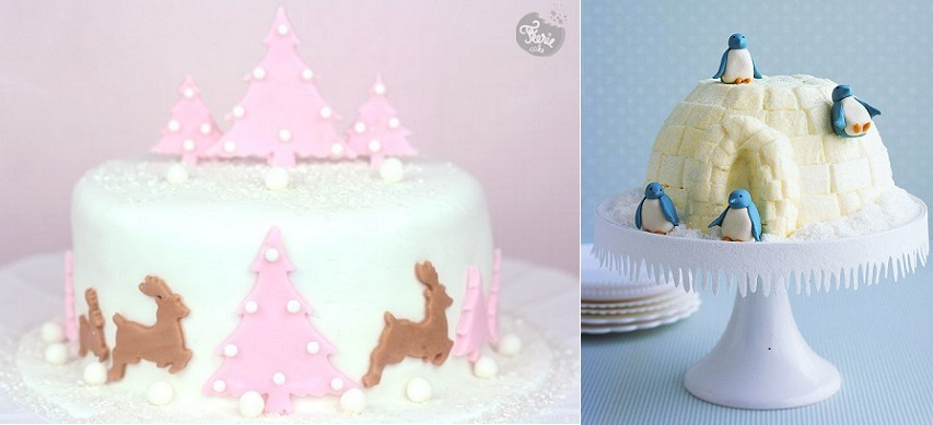 christmas cake decorating ideas from feriecake.fr (left) and Martha Stewart Living (right)