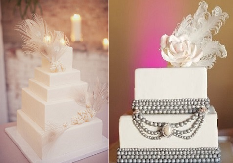 feather wedding cakes from Style Me Pretty (left) and Studio Wed Nashville (right)