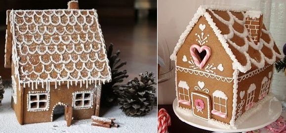 gingerbread house tutorials from Globe Trotter Diaries (left) and from Butter Hearts Sugar blog (right)