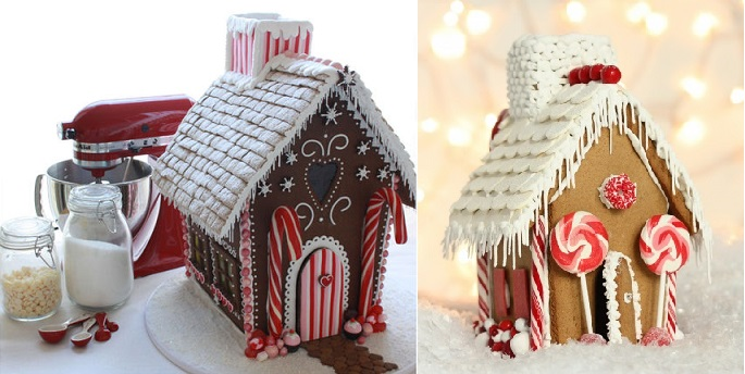 gingerbread houses by LPegado on Cake Central (left) and from Sweetopia (right)