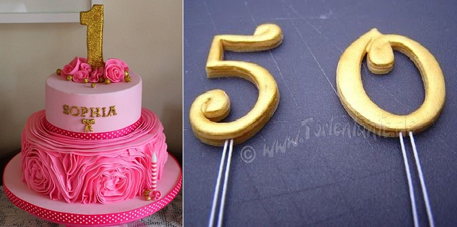 number cake toppers from Pinterest (left) and Torte Tante (right)