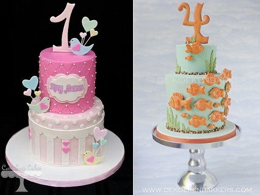 number cake toppers on cakes by Cuteology Cakes (left) and D Koeken Bakkers (right)