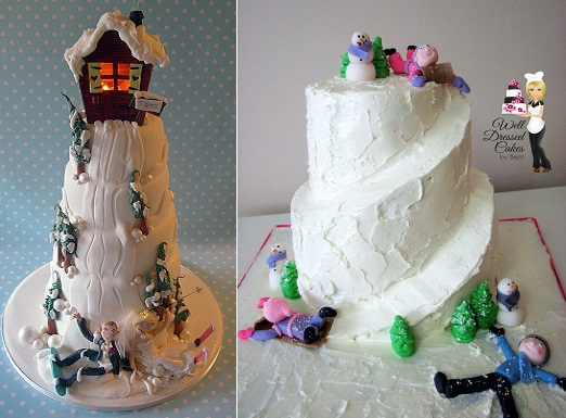 snowboarding wedding cake from Cake Wrecks.com and toboganning cake by Well Dressed Cakes by Brett