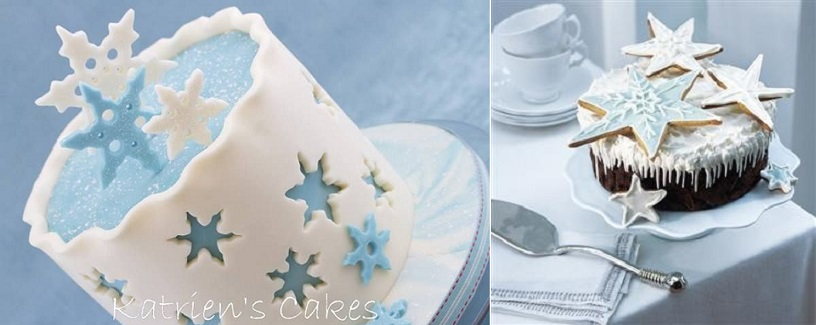 snowflake cakes by Katrien's Cakes (left) and from delicious magazine. co.uk (right)