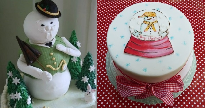 snowman cake topper (left) from Jane's Sweets & Baking Journal and a hand painted snowman cake by Nevie's Cakes (right)