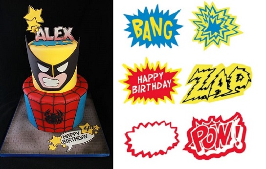 superhero cake from Andrea's Sweet Cakes on Flickr and free printable superhero comic cupcake topper templates from annapotatoes .blogspot .com
