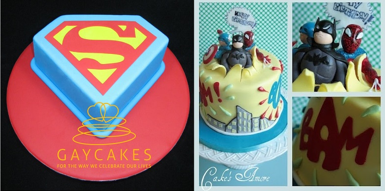superman_cake_from Gay Cakes Australia (left) and superheroes cake by Cake's Amore (right)