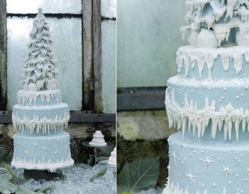 winter wedding cake with christmas tree from The Highland Bakery