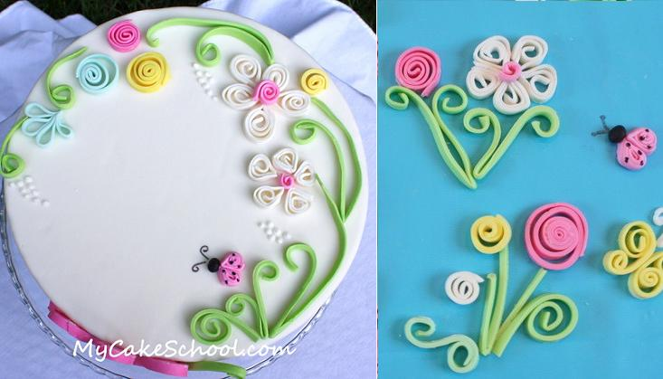 cake quilling tutorial from My Cake School.com.au