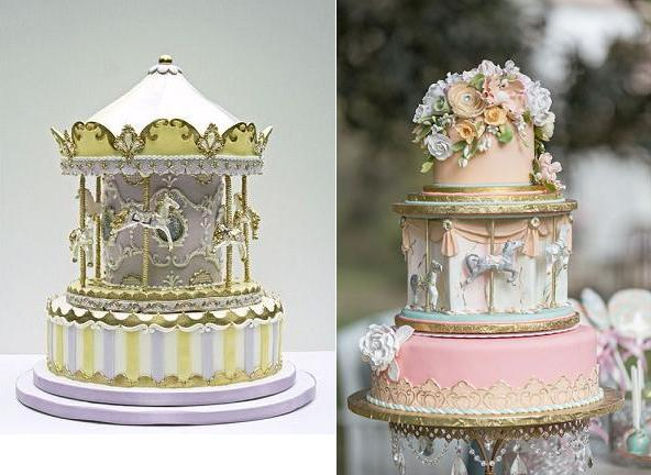 carousel-cake-or-merry-go-round-cake-by-Bobette-Belle-left and by Cute-Cakes-via-Wedding-Chicks right.jpg