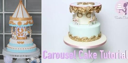 carousel cake tutorial by Mama Wears Prada left, carousel cake tutorial by Sweetie Darling right