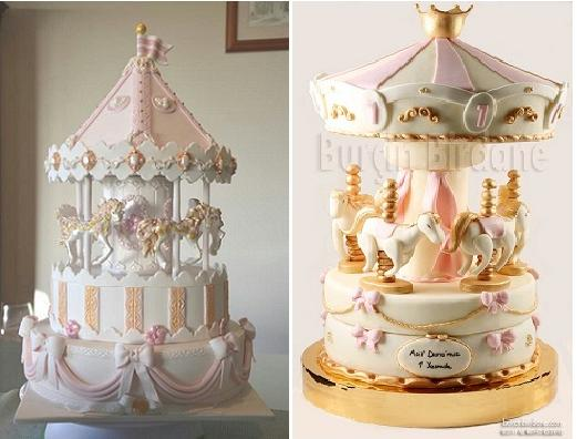 carousel-cakes or merry-go-round cakes by Shaz1147-on-Cake-Central left and by Burcin Birdane right