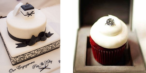 engagement cake by Michelle Wells via Pinterest (left) and engagement cupcake via Little CupCakery NI Facebook page