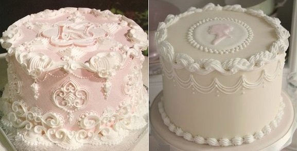 lambeth piping cakes from Wilton left and Cotton & Crumbs right