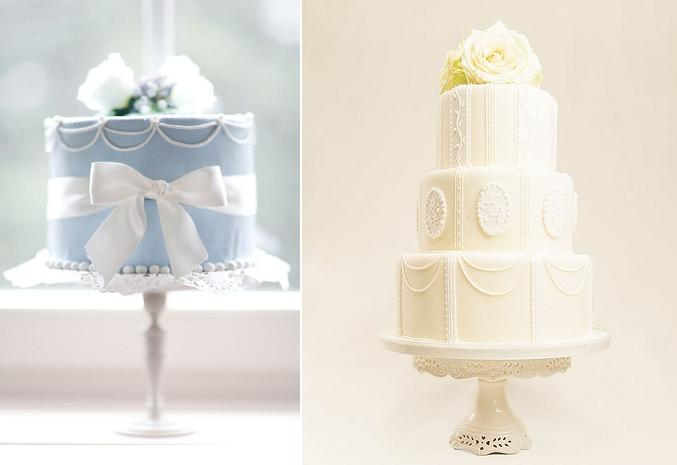 piping techniques drop string piping or scalloped piping with lemon wedding cake by Bath Baby Cakes right and left cake via Heavenly Wishes on Tumblr left and