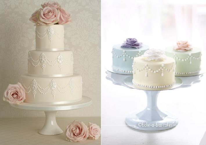piping techniques with cakes from Rosalind Miller (left) and Pinterest (right)