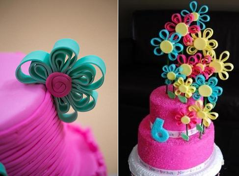 quilling or quilled cake designs from Mon Delice left and via Indulgy right