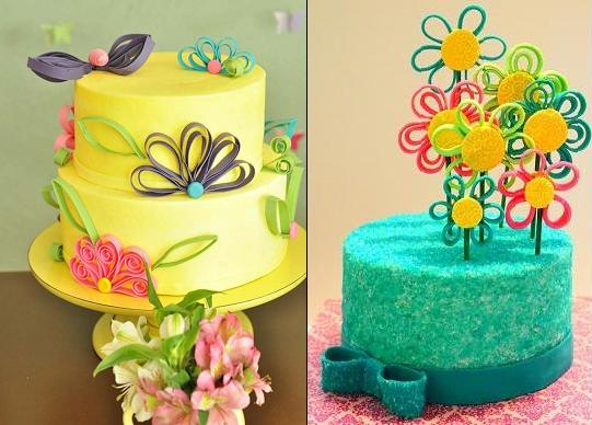 quilling or quilled cakes from La Douce Belle via Kara's Party Ideas left and King Girlz via Cake Central right