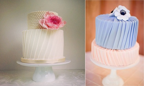 Pleated cakes by the Cake Whisperer left and by Jen's Cakes via 100Layer Cake right, Hannah Suh Photography