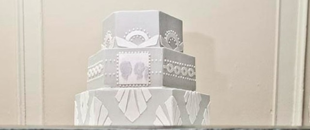 below,art deco wedding cake as photoed by Neil Boyd Photography
