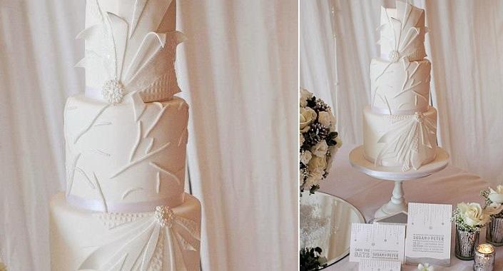 art deco wedding cake in Winter Wonderland theme by Cakes by Beth, Alex Davies Photography