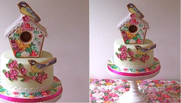 bird house cake by Gorgeous Cakes UK