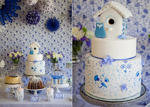 birdhouse cake and vintage blue sweet tableby Just Call Me Martha and See Be Art Photography