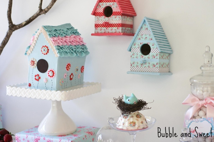 birdhouse cake sweet table from Bubble and Sweet
