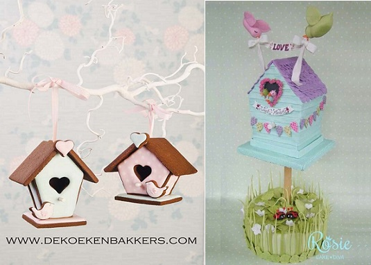 birdhouse cakes by Dekoeken Bakkers.com left and by Rosie Cake Diva right