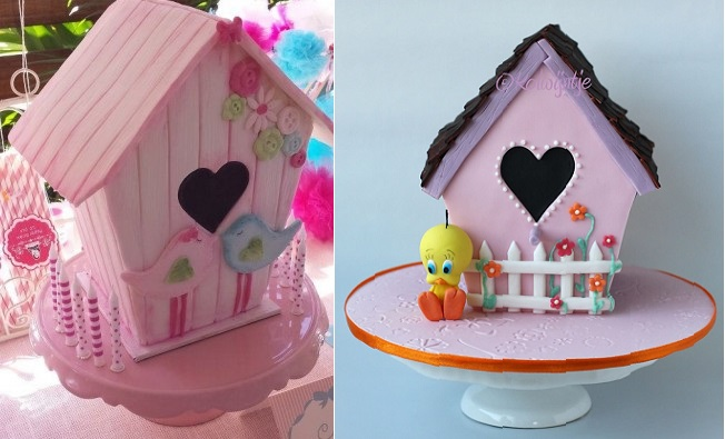 birdhouse cakes by Heidi Dahlenburg Cake and Whimsy Australia left and by Kolwyntje via Deleukstaarten NL