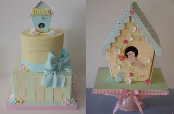 birdhouse cakes by Shereen's cakes left and by Magical Cakes NZ right
