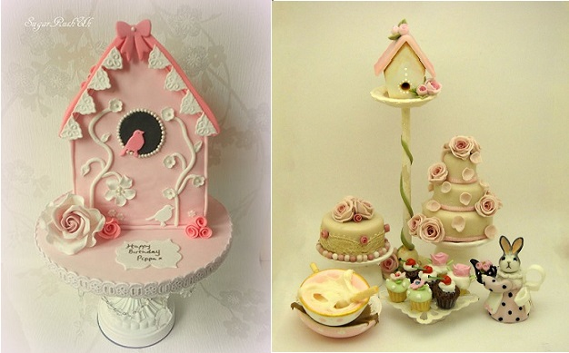 birdhouse cakes by Sugar Rush UK left and by 64tnt Miniatures Lorry's Tiny Creations right