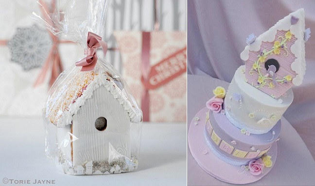 birdhouse cakes by Torie Jayne left and by Sweet Jeelees Cakes London right