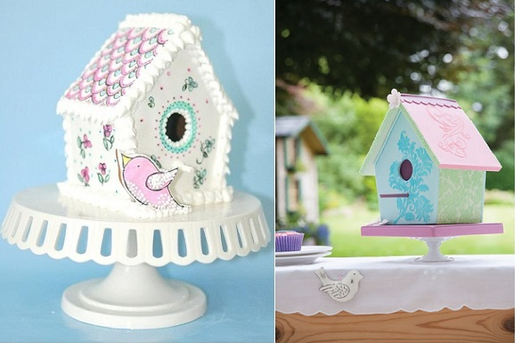 birdhouse cakes by shawnascakes on Cake Central left and carved birdhouse cake by Lindy Smith right