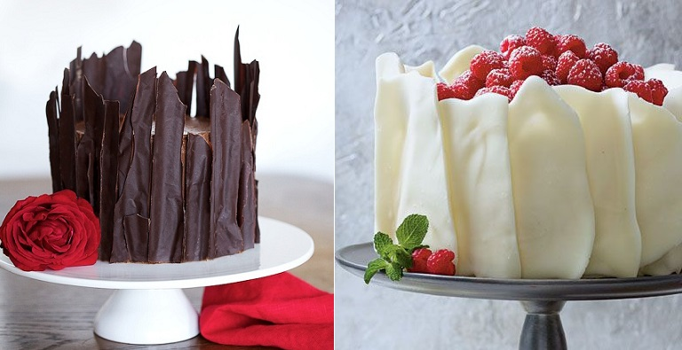 chocolate cake decorating ideas chocolate shards tutorial via Willow Blog left and white chocolate tiles via Southern Living right