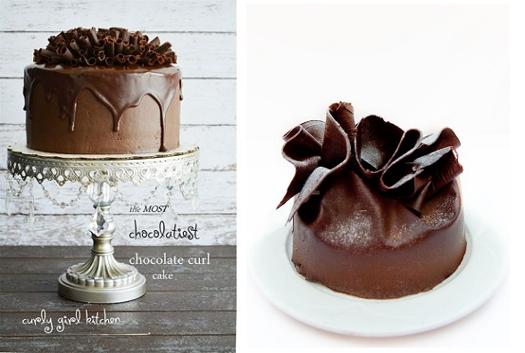 chocolate cake decorating with cakes from Curly Girl Kitchen left and Malta right
