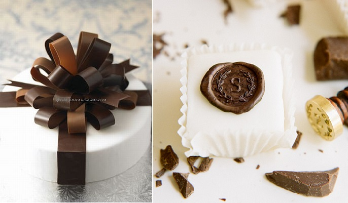 chocolate cake decorating with chocolate ribbon bow left via Tumblr and chocolate-seal-monogram-petit-four via Once Wed right