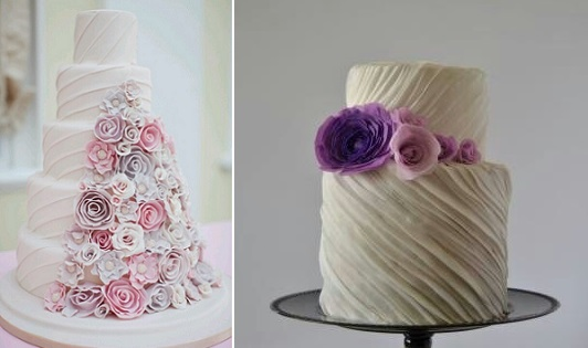pleated cake designs via Cake Apothecary left and via Tumblr right