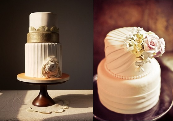 pleated cake designs via Weddings Unveiled Magazine left and via Save The Date Event.co.uk right