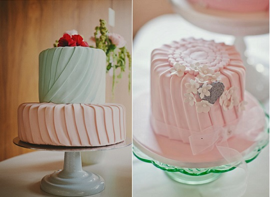pleated cakes by Cake Lady Jill via Ruffled left and by Cakes by Beth right, photo by Mark Tattersall via Whimsical Wedding Wonderland