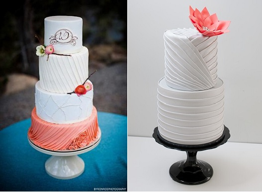pleated cakes with coral accents by Sweet and Swanky on Cake Central left with Byron Roe Photography and via Pinterest right