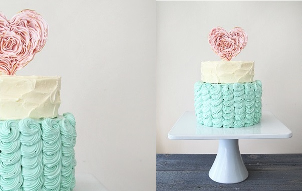 valentines cake with ruffle heart and textured buttercream or engagement cake from Style Sweet CA