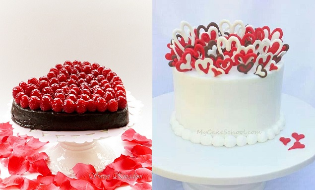 valentines cakes from Sweet Kingdom left and from My Cake School. com.au right